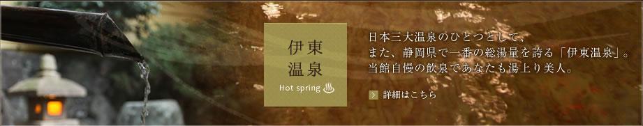 日本三大温泉のひとつとして、また、静岡県で一番の総湯量を誇る「伊東温泉」。当館自慢の飲泉であなたも湯上り美人。